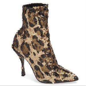 NWT Dolce & Gabbana leopard sequin bootie
